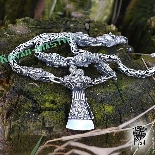 серебряная цепь с обережными животными