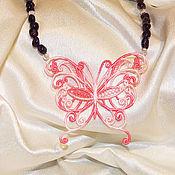 """Украшения ручной работы. Ярмарка Мастеров - ручная работа """"Прикосновение розового"""" колье с кружевом. Handmade."""