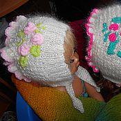 Работы для детей, ручной работы. Ярмарка Мастеров - ручная работа Пуховая шапочка с розочками. Handmade.