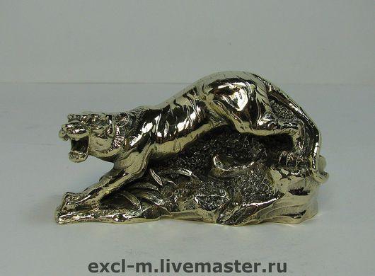 """Миниатюра ручной работы. Ярмарка Мастеров - ручная работа. Купить Статуэтка """"Крадущийся тигр"""". Handmade. Тигр, статуэтка из латуни, латунь"""