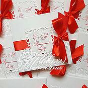 Приглашения ручной работы. Ярмарка Мастеров - ручная работа Приглашения с квадратной рамкой-свадьба в красном цвете. Handmade.