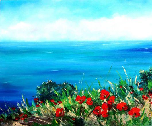 Пейзаж ручной работы. Ярмарка Мастеров - ручная работа. Купить Средиземное море. Handmade. Бирюзовый, маки, картина для интерьера, картина