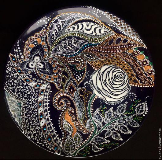 Декоративная посуда ручной работы. Ярмарка Мастеров - ручная работа. Купить Тарелка декоративная White Rose. Handmade. Восточный стиль