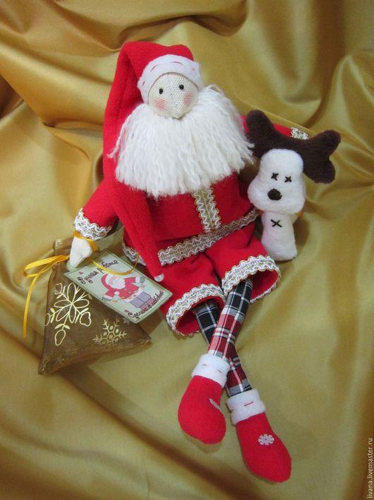 Куклы Тильды ручной работы. Ярмарка Мастеров - ручная работа. Купить Санта Клаус и оленёнок новогодние. Handmade. Комбинированный, рождество