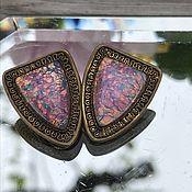 handmade. Livemaster - original item Clip-on earrings with natural opal, Art Deco, Holland. Handmade.