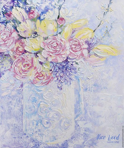Ярмарка Мастеров - ручная работа. Купить картину Доброе утро. Картина с букетом цветов. Картина маслом на холсте. Цветы в вазе. Розы. Тюльпаны. Handmade