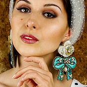 Свадебный салон handmade. Livemaster - original item Earrings Mint marshmallows. Embroidered earrings. large earrings. Handmade.