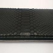 Сумки и аксессуары handmade. Livemaster - original item Purse clutch bag, Python skin, black color.. Handmade.