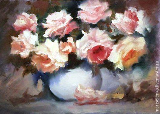 Картины цветов ручной работы. Ярмарка Мастеров - ручная работа. Купить Пионы. Handmade. Стильно, украшение для интерьера, букет роз