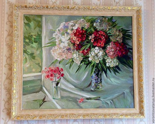 """Картины цветов ручной работы. Ярмарка Мастеров - ручная работа. Купить """"Флоксы"""".. Handmade. Цветы, натюрморт с цветами, окно"""