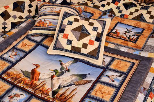Текстиль, ковры ручной работы. Ярмарка Мастеров - ручная работа. Купить НА ОХОТУ! Лоскутное покрывало, подарок для мужчны. Handmade.