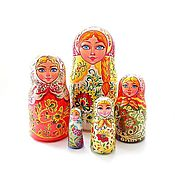 Русский стиль handmade. Livemaster - original item Neo Khokhloma style traditional Russian style Nesting dolls Matryoshka. Handmade.