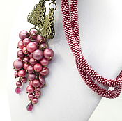 Украшения handmade. Livemaster - original item Lariat Marsala brush bunches of berries long necklace beaded decoration. Handmade.