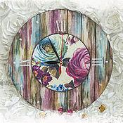 Для дома и интерьера ручной работы. Ярмарка Мастеров - ручная работа Часы Старый дворик_розы. Handmade.