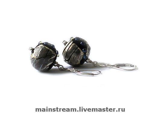 """Серьги ручной работы. Ярмарка Мастеров - ручная работа. Купить Серьги """"Стекло в серебре"""" черные. Handmade. Серьги, серебряный"""