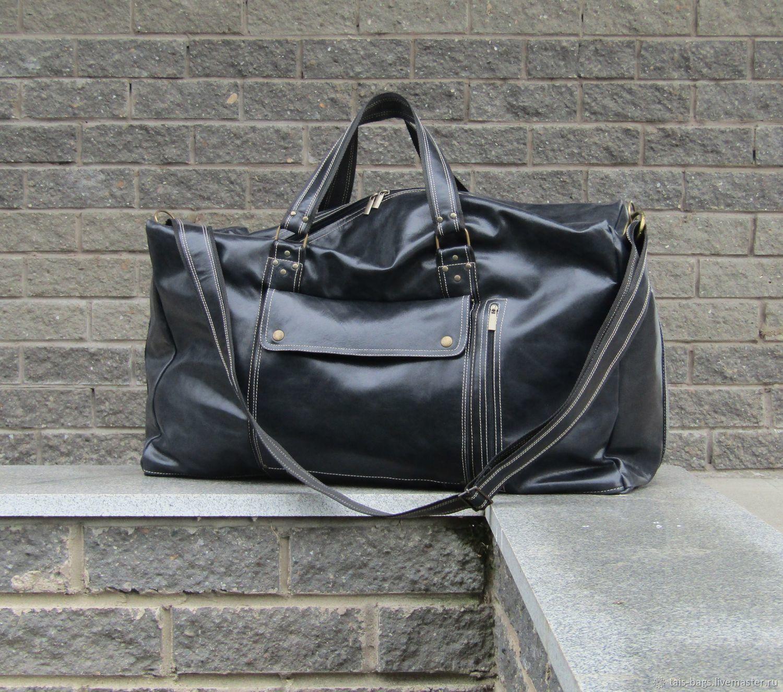 Men's travel bag WEST EAST maxi genuine leather black, Travel bag, Izhevsk,  Фото №1