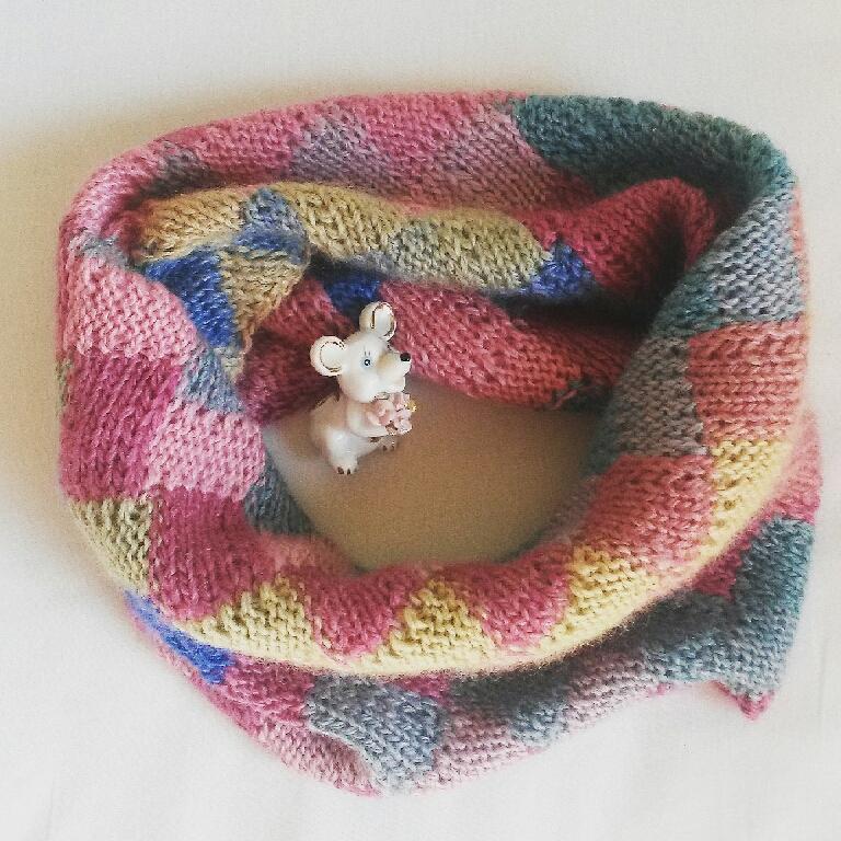 Купить Снуд энтерлак розовый-голубой - снуд, шарф женский, кардиган вязаный, вязание спицами