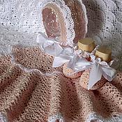 Работы для детей, handmade. Livemaster - original item Knitted set for a girl for discharge or Baptism. Handmade.