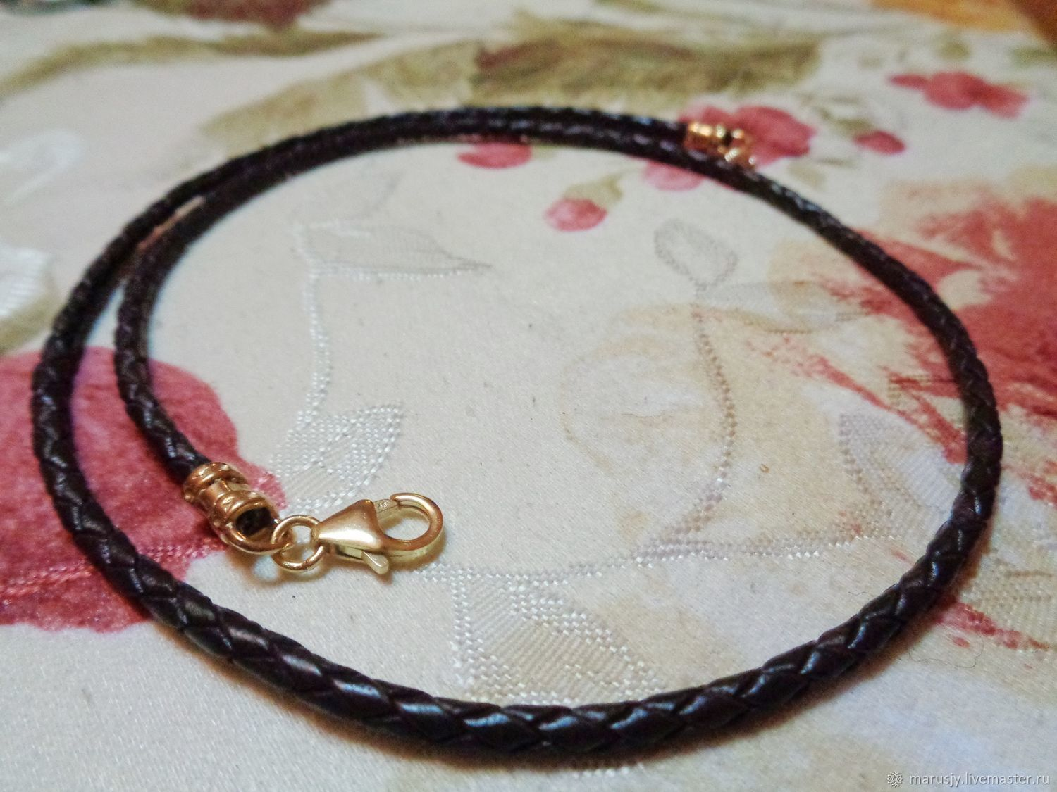 2,5 mm braided cord choker leather brown with gold field 14k, Chokers, Sergiev Posad,  Фото №1