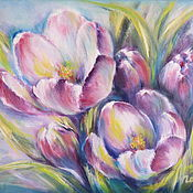 Pictures handmade. Livemaster - original item Floral original oil painting on canvas with spring violet flowers. Handmade.