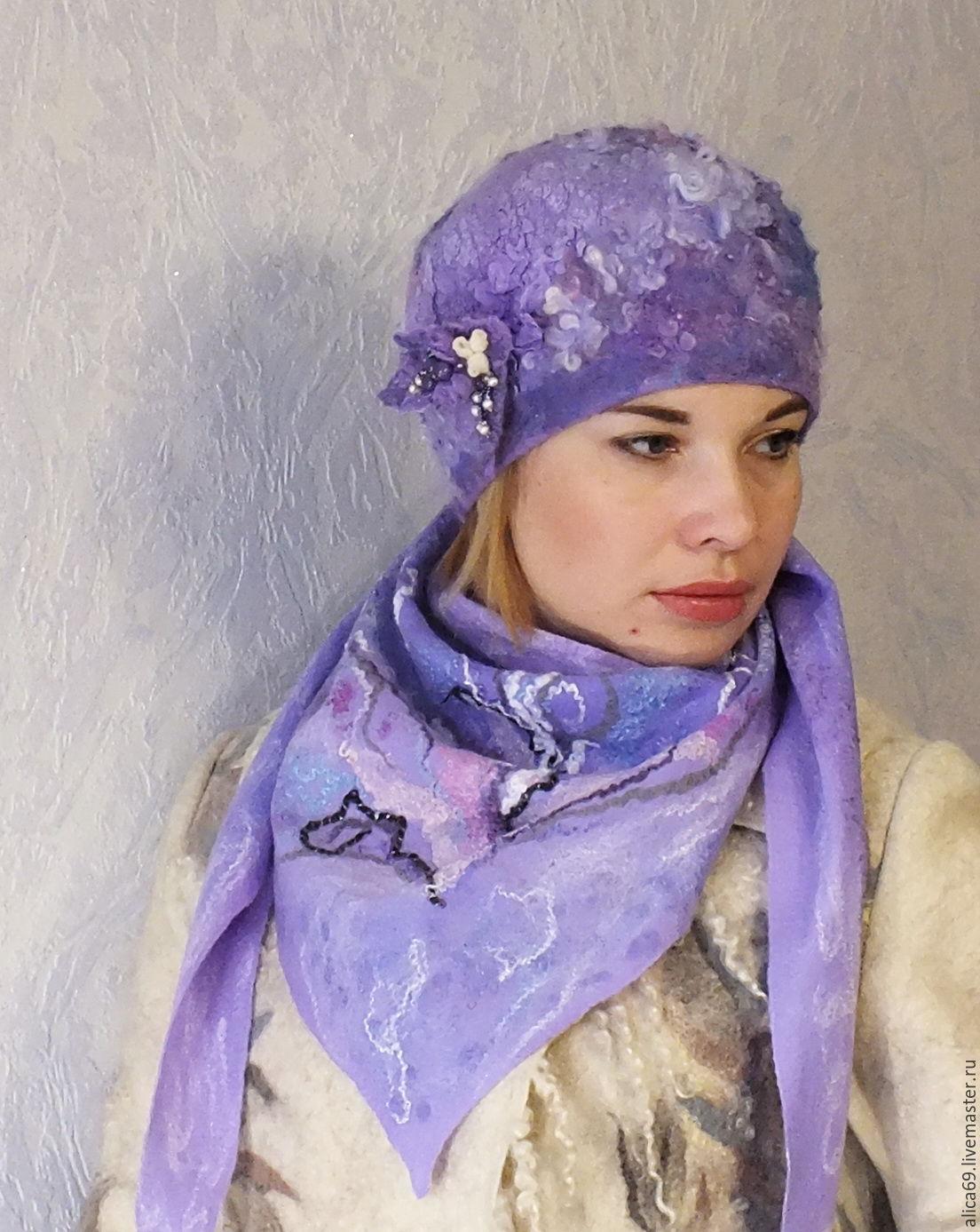 Валяный берет..Сирени  цвет, Береты, Новокузнецк,  Фото №1