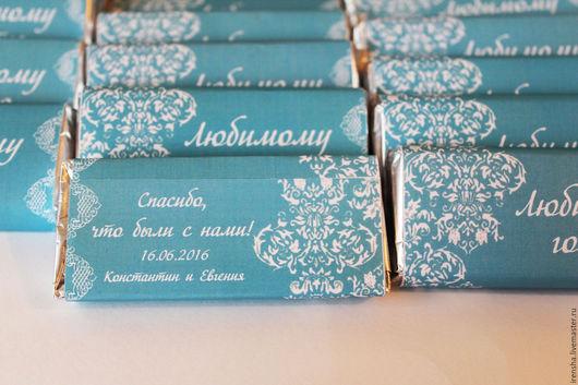 Свадебные аксессуары ручной работы. Ярмарка Мастеров - ручная работа. Купить Рассадочные карточки-шоколад. Handmade. Бирюзовый, винтажный стиль