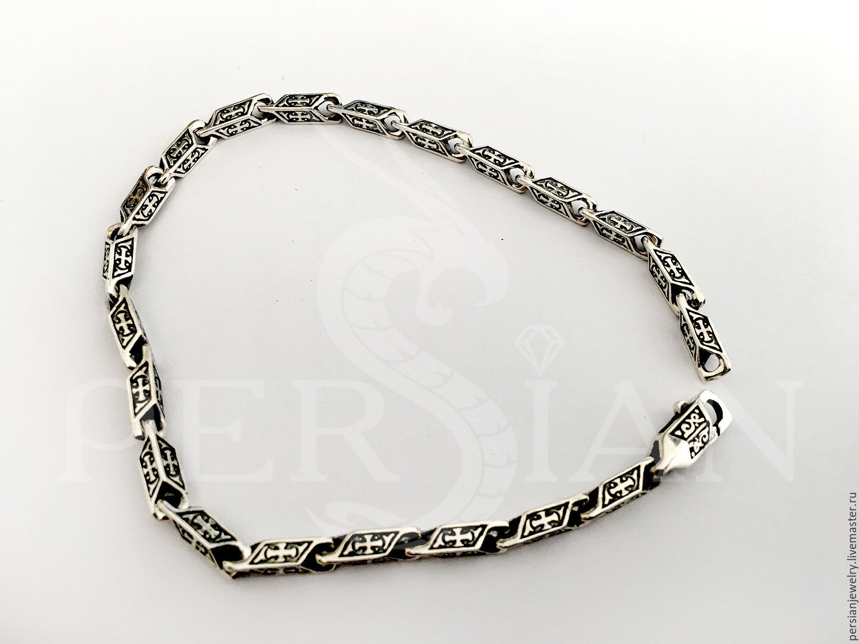 Silver bracelet molding, with crosses, Chain bracelet, Sevastopol,  Фото №1