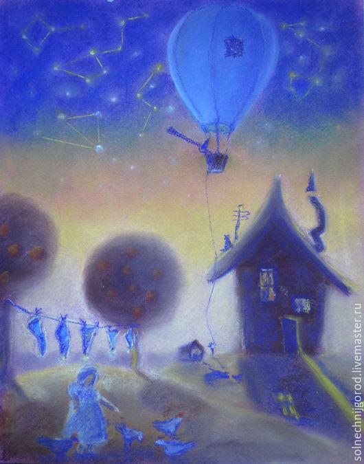"""Фантазийные сюжеты ручной работы. Ярмарка Мастеров - ручная работа. Купить Картина пастелью """" Звезды и звездочет """". Handmade."""