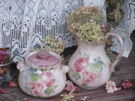"""Кухня ручной работы. Ярмарка Мастеров - ручная работа. Купить """"Чайная роза..."""" Кувшин и горшочек.. Handmade. Бежевый"""