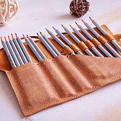 Канцелярские товары handmade. Livemaster - original item Case for pencils and pens made of genuine leather