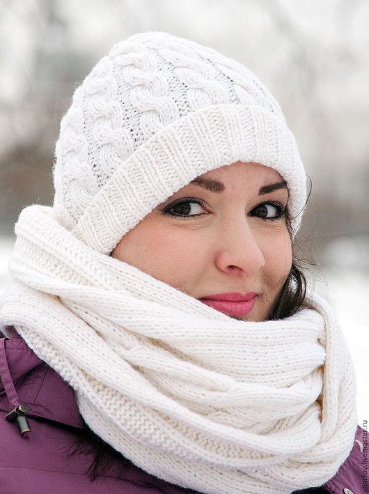 белый комплект шапка и шарф, белая шапка, белый шарф, шапка шарф