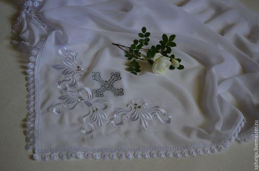 Шали, палантины ручной работы. Ярмарка Мастеров - ручная работа. Купить Платок для церкви именной. Handmade. Платок на голову, крещение