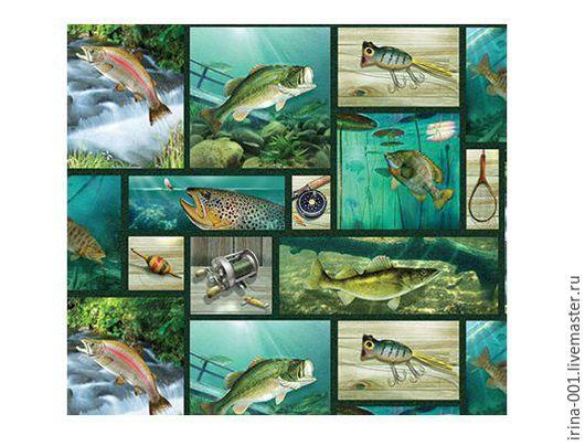 Шитье ручной работы. Ярмарка Мастеров - ручная работа. Купить Рыбалка.Панель хлопок  60х110 см. Handmade. Комбинированный, панели