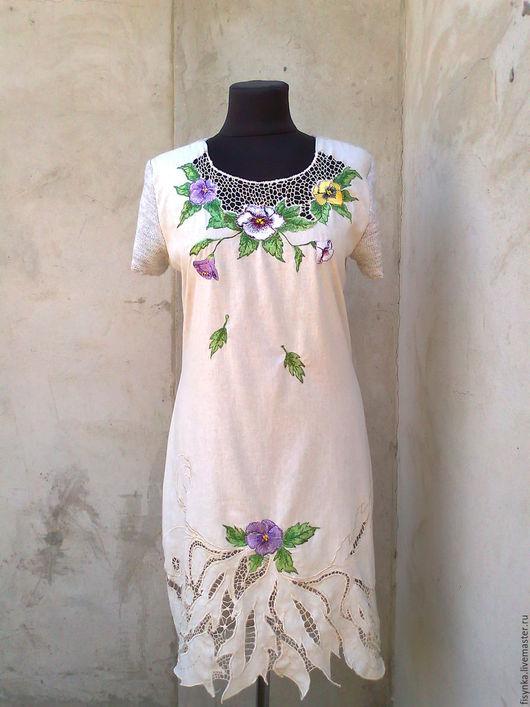 Платья ручной работы. Ярмарка Мастеров - ручная работа. Купить платье льняное с вышивкой ришелье. Handmade. Серый, вышивка на одежде