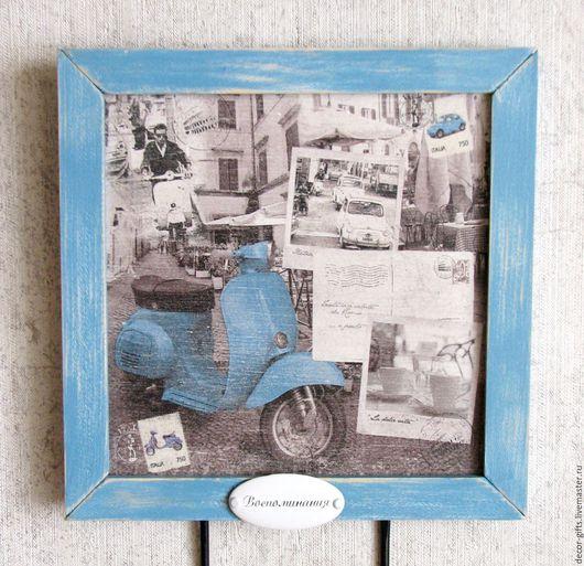 Ключница голубой цвет, черно-белый, фото принт
