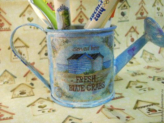 """Персональные подарки ручной работы. Ярмарка Мастеров - ручная работа. Купить """"Свежие крабы"""", леечка. Handmade. Синий, ваза, цветы"""