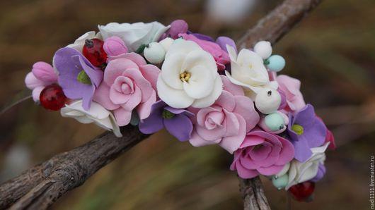 """Диадемы, обручи ручной работы. Ярмарка Мастеров - ручная работа. Купить Ободок """"Весенние цветы"""". Handmade. Бледно-розовый"""