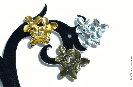 Швензы -пуссеты основа для сережек гвоздиков Три цветка из латуни.