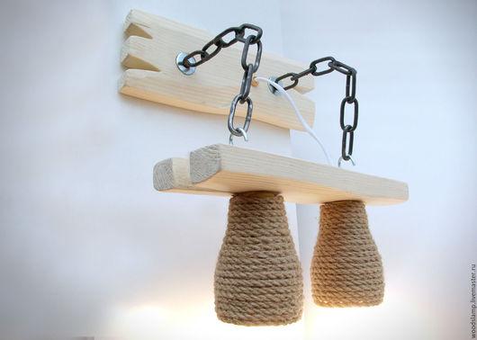 Освещение ручной работы. Ярмарка Мастеров - ручная работа. Купить Бра из дерева на металлических цепях и абажурами из каната. Handmade. Белый