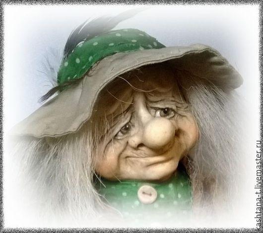 Коллекционные куклы ручной работы. Ярмарка Мастеров - ручная работа. Купить авторская кукла ДОМОВИЧОК в горошек. Handmade. Тёмно-зелёный