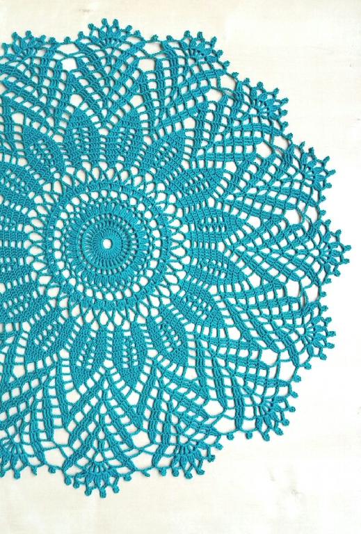 Текстиль, ковры ручной работы. Ярмарка Мастеров - ручная работа. Купить Салфетка крючком  изумрудная. Handmade. Салфетка, кружево