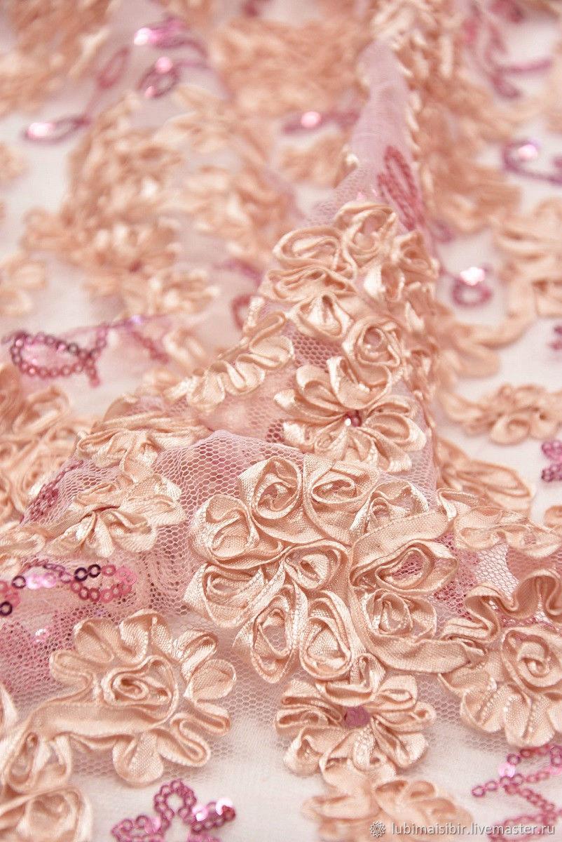 ed39aa278 Кружево 3D розовые цветочки Италия. Итальянское кружево. Ярмарка Мастеров.