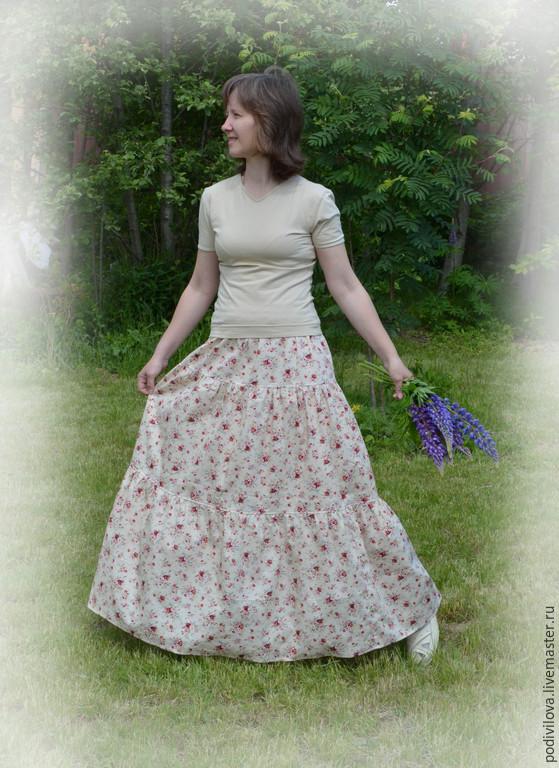 Skirts handmade. Livemaster - handmade. Buy Long skirt 'Vintage розы2',tiered,summer ,to the floor.Pink, beige