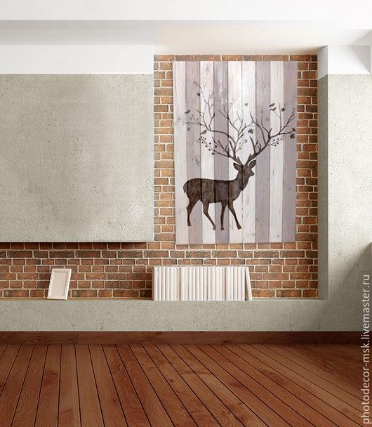 """Животные ручной работы. Ярмарка Мастеров - ручная работа. Купить Панно """"Лесной олень"""". Handmade. Белый, панно из дерева, пропитка"""