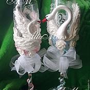 """Свадебный салон ручной работы. Ярмарка Мастеров - ручная работа Бокалы свадебные """"Лебеди"""". Handmade."""