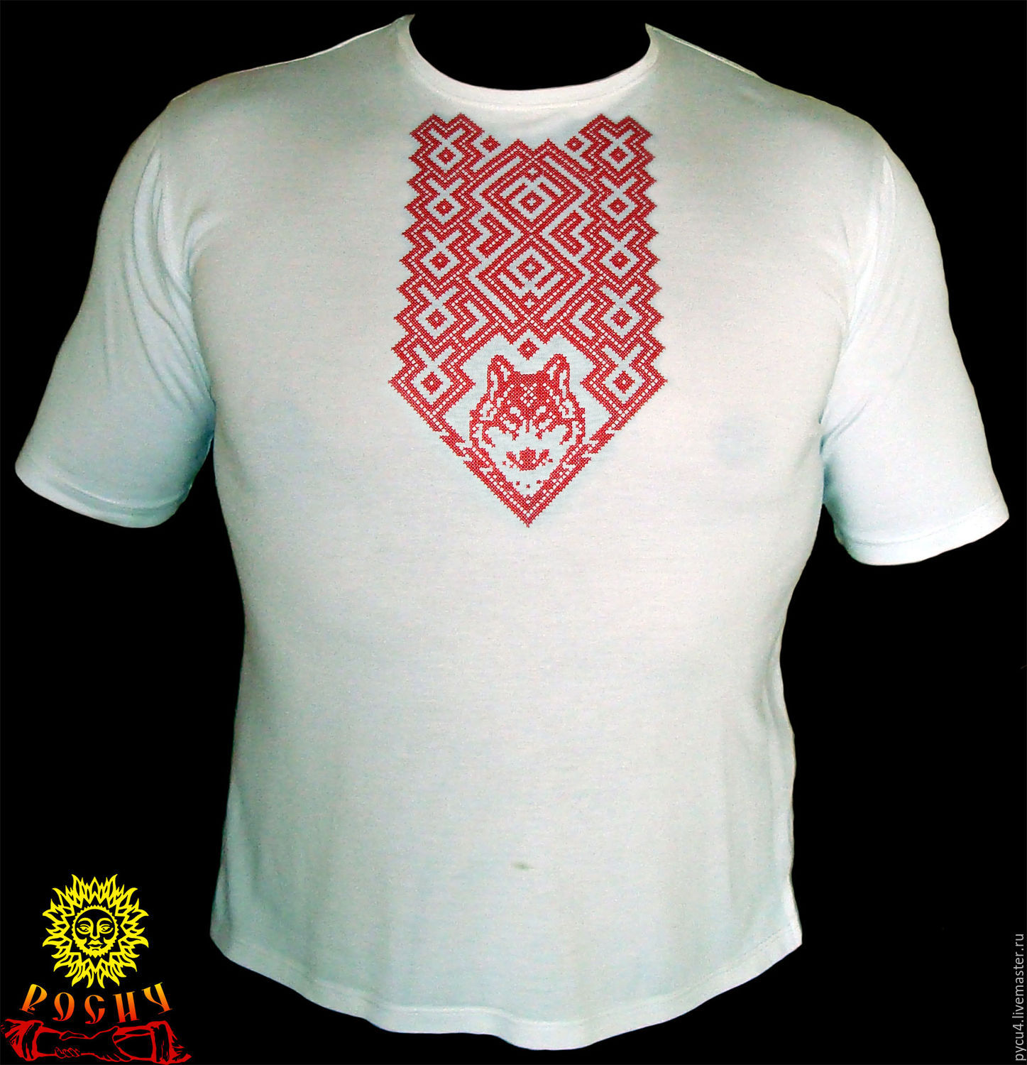 T Shirt With Embroidered Wolf Shop Online On Livemaster With