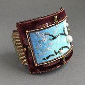 Украшения handmade. Livemaster - original item Cherry BLOSSOM bracelet silk, velvet, pearls, beads, kanitel. Handmade.