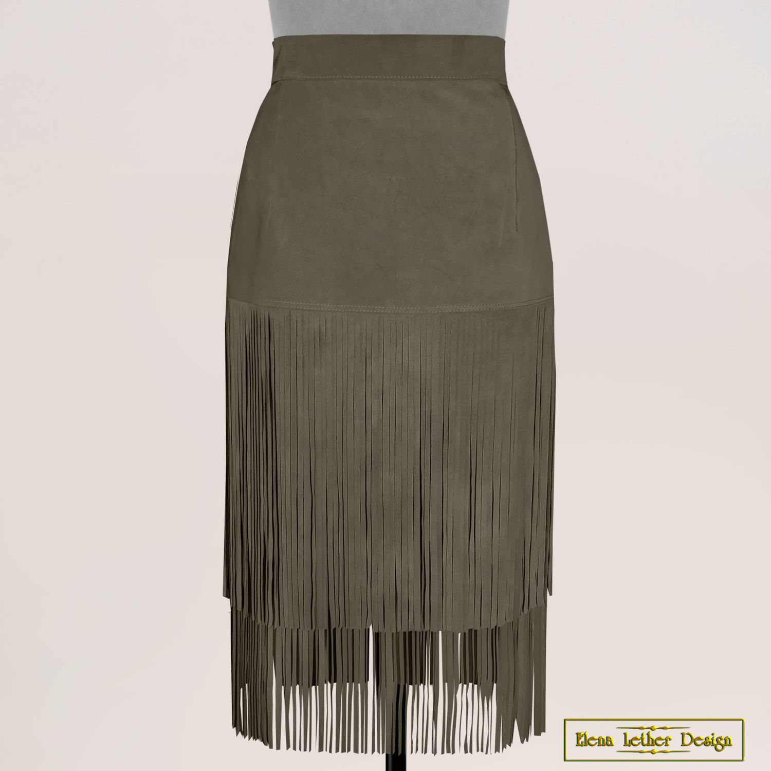 Skirt 'Cowboy' straight with a fringe of genuine leather, Skirts, Rodniki,  Фото №1