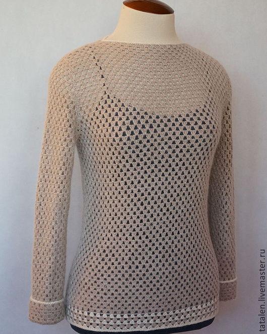 """Кофты и свитера ручной работы. Ярмарка Мастеров - ручная работа. Купить Пуловер """"Mink"""". Handmade. Бежевый, пуловер женский крючком"""