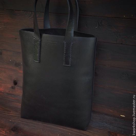 Женские сумки ручной работы. Ярмарка Мастеров - ручная работа. Купить Черная кожаная сумка-шоппер. Handmade. Черный